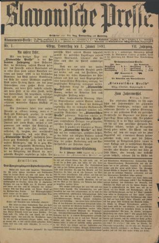 Slavonische Presse, 1891