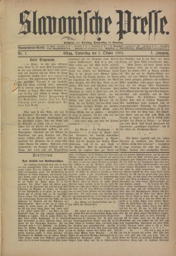Slavonische Presse, 1885