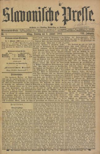 Slavonische Presse, 1892