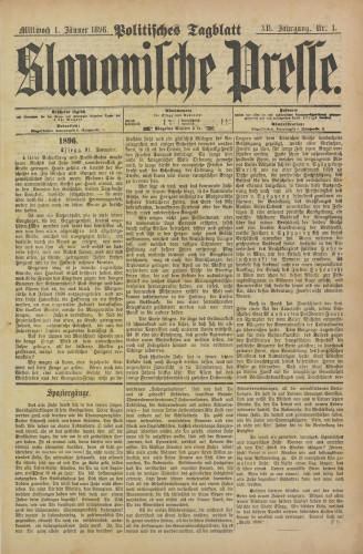 Slavonische Presse, 1896