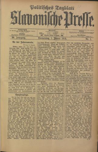 Slavonische Presse, 1914