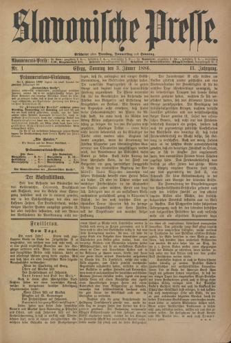 Slavonische Presse, 1886