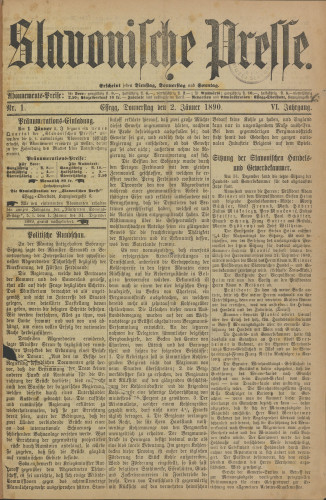 Slavonische Presse, 1890