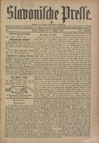 Slavonische Presse, 1887