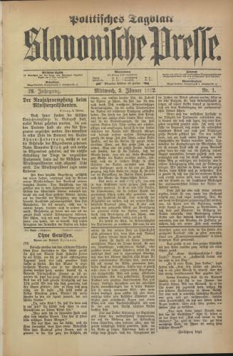 Slavonische Presse, 1912